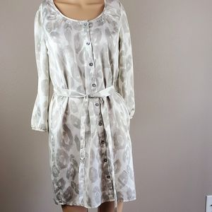 Express Silver & White Shimmery Tie Dress